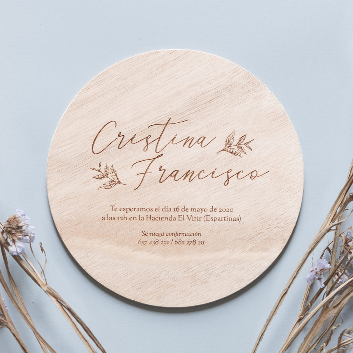 Invitación de madera Campestre