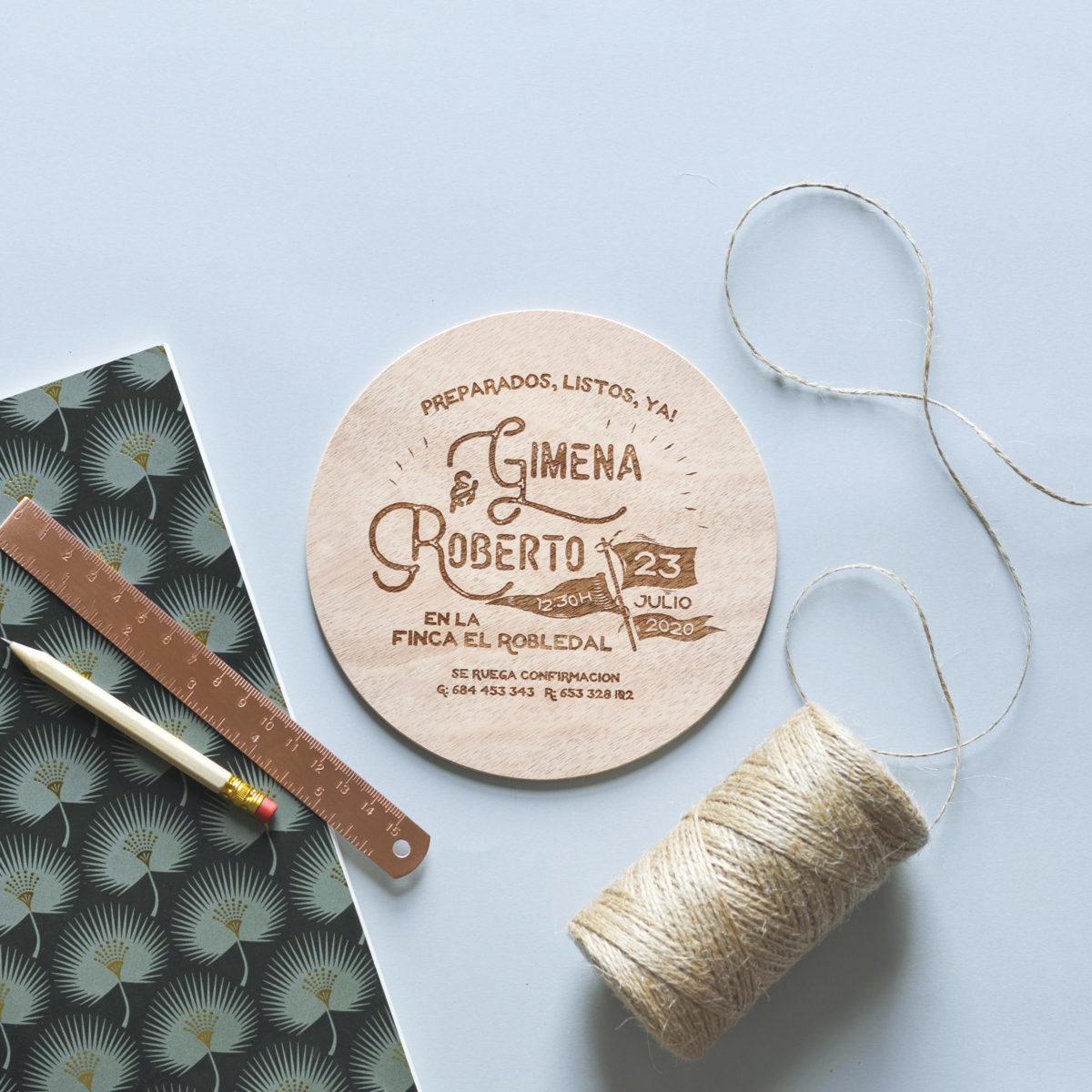 Invitación de madera Vintage