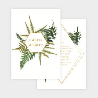 invitación de papel estilo botánico con planta helechos