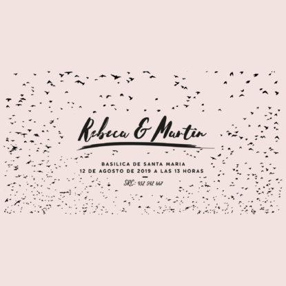 invitación de madera de boda con diseño de pájaros diseño
