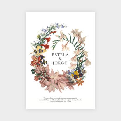 invitación de papel estilo botánico con corona de flores