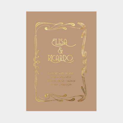 invitacion de boda de papel con foil dorado art nouveau