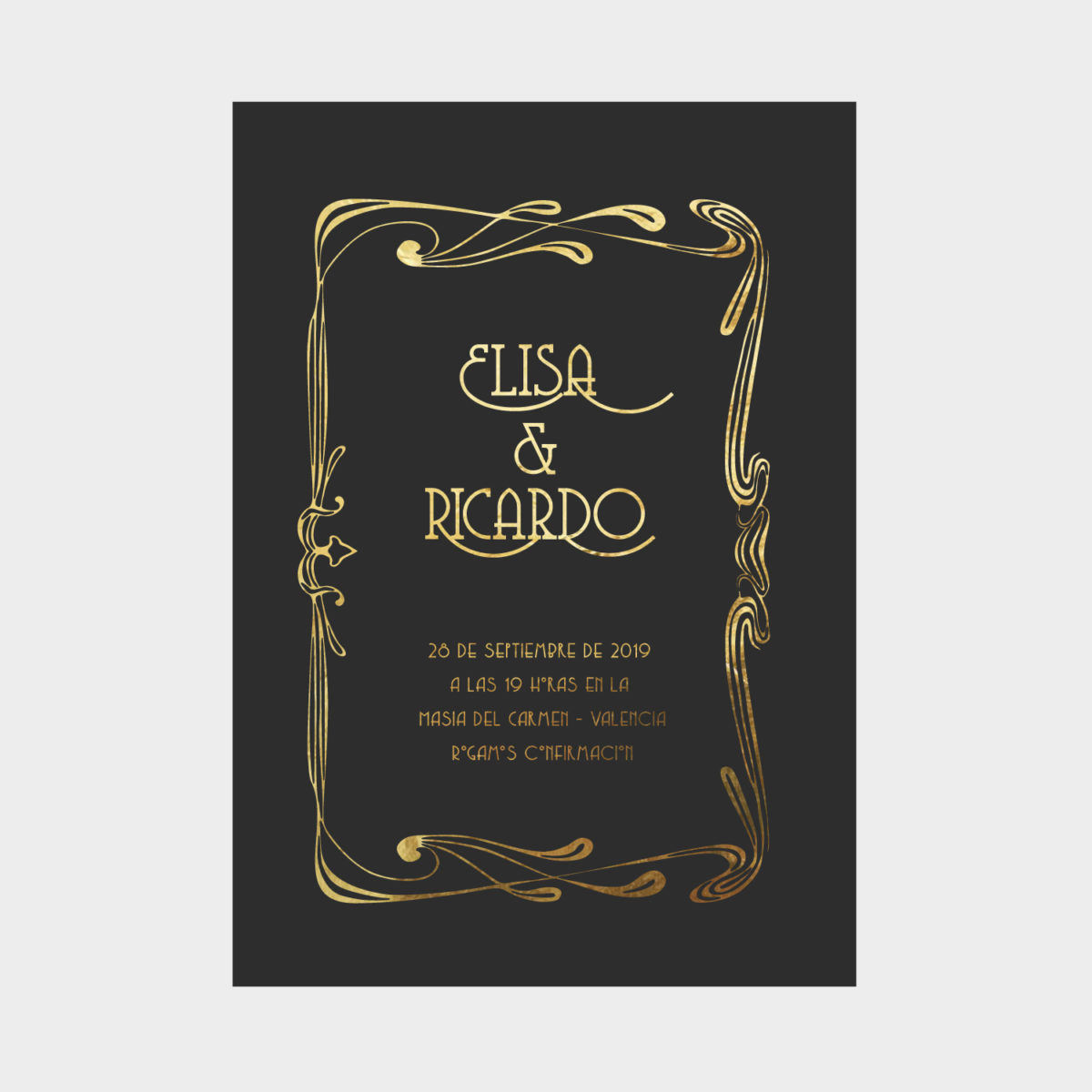 Invitacion Dorada Art Nouveau