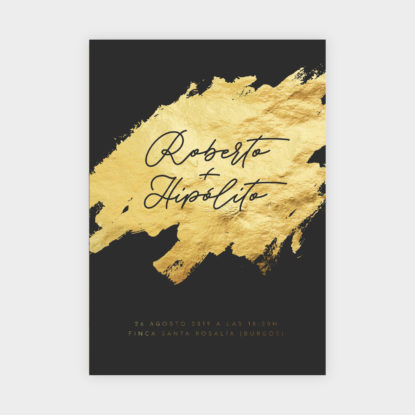 invitacion de boda de papel con foil dorado brush