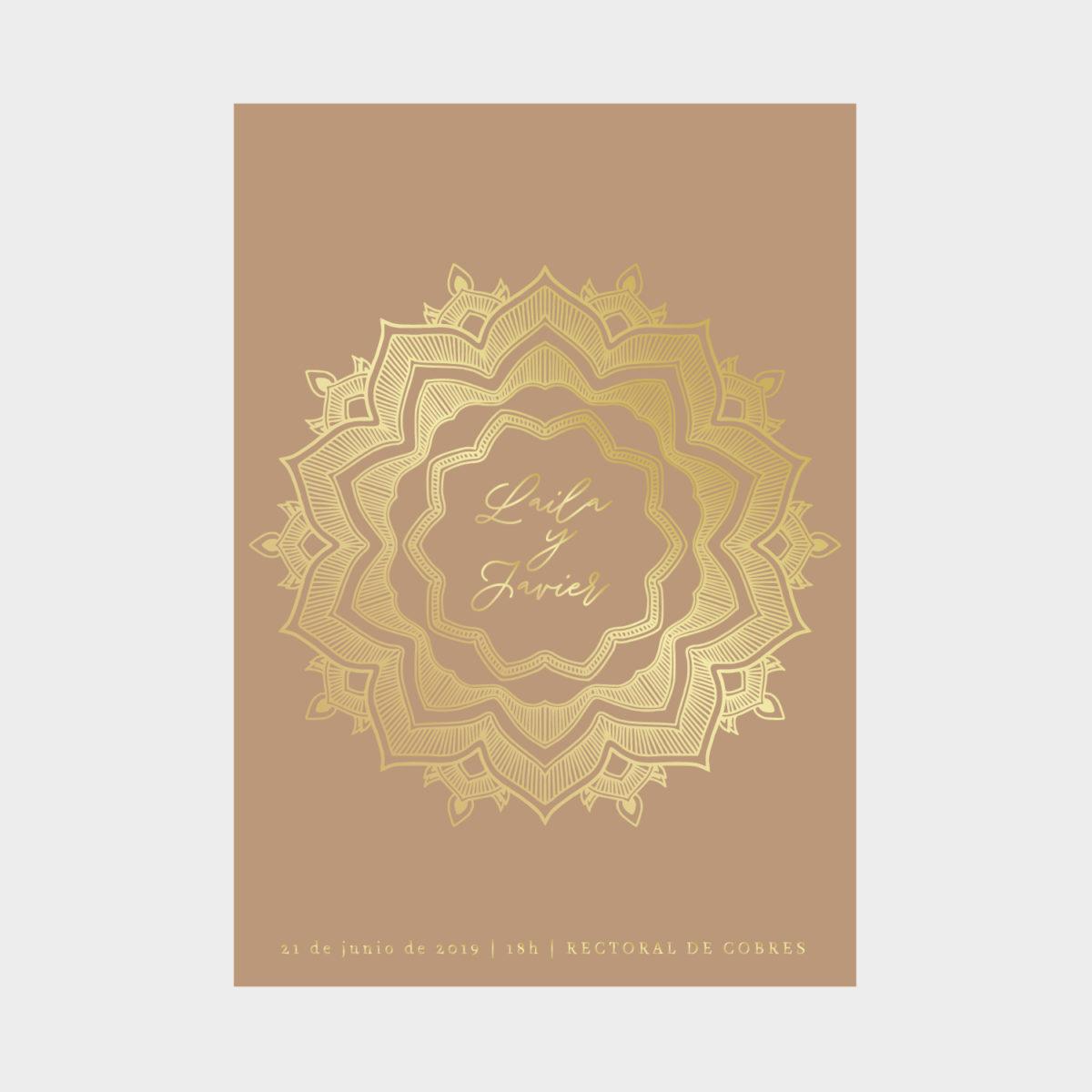 Invitación Dorada Mandala