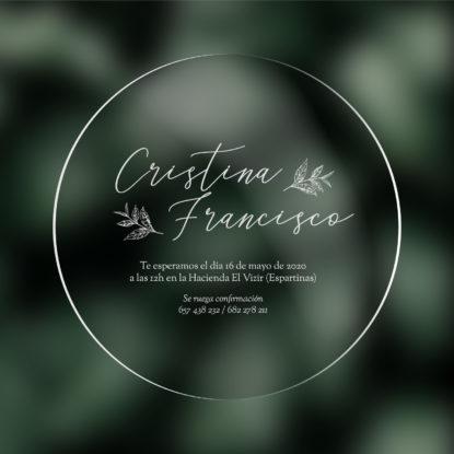 Invitación de boda transparente redonda modelo Campestre