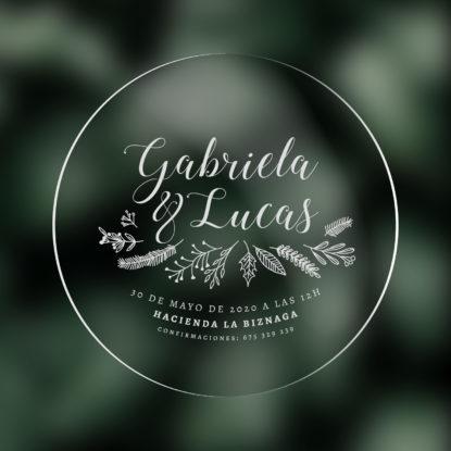 Invitación de boda transparente redonda modelo Botanica