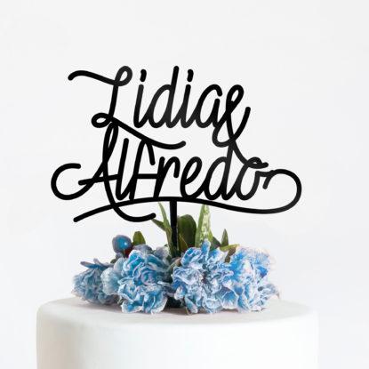 Cake topper para tarta de boda blue velvet detalle