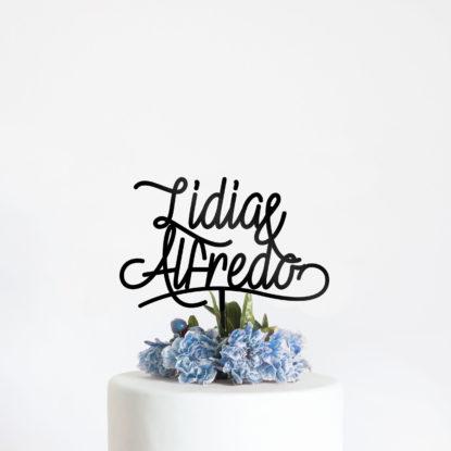 Cake topper para tarta de boda blue velvet