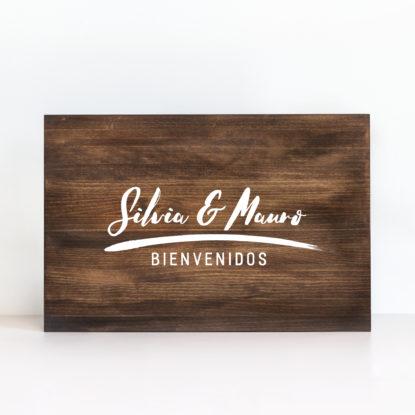 """Cartel de madera """"Bienvenidos"""" color oscuro"""