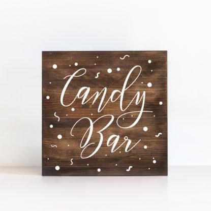 "Cartel de madera ""Candy Bar"" color oscuro"
