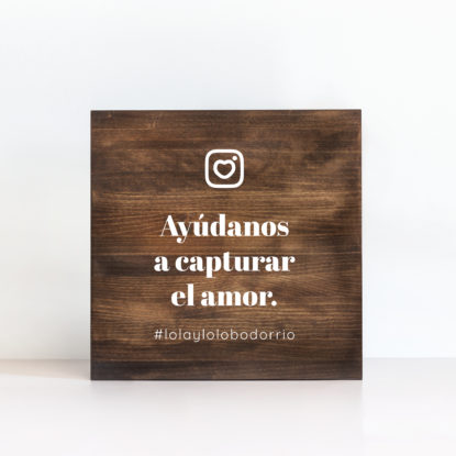"Cartel de madera ""Instagram"" color oscuro"
