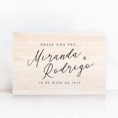 Cartel Erase una vez de boda madera clara