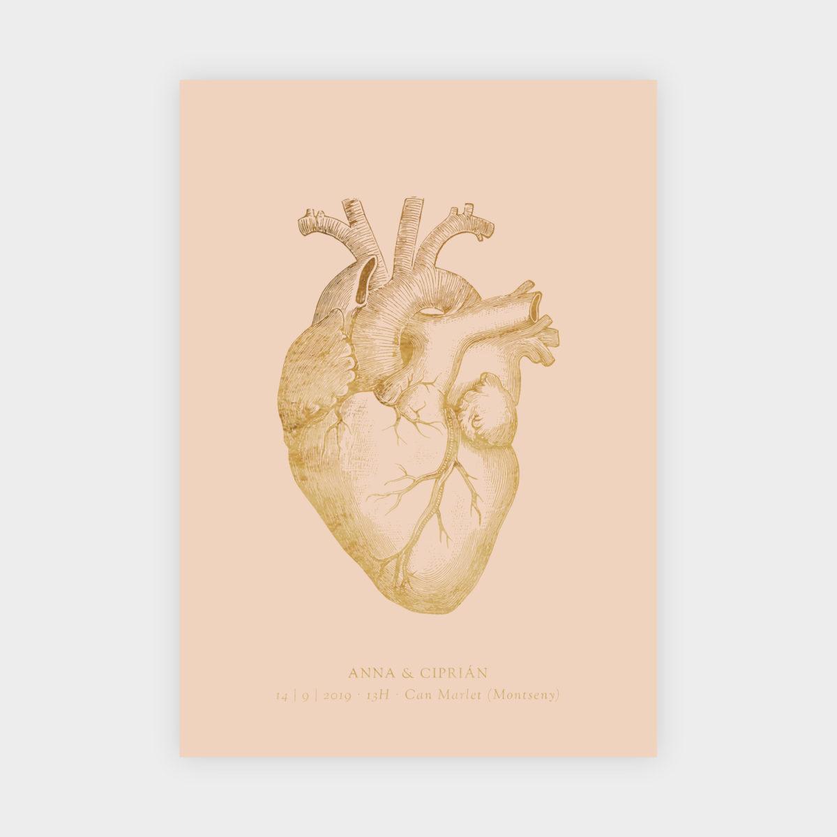 Invitación Dorada Corazón
