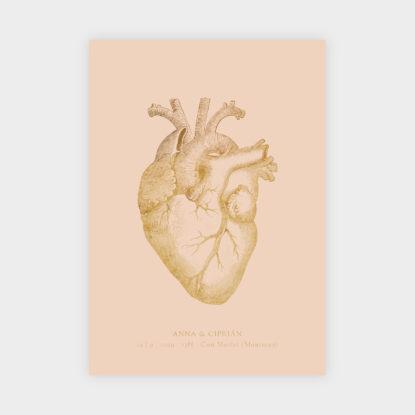 invitacion de boda de papel con foil dorado corazon