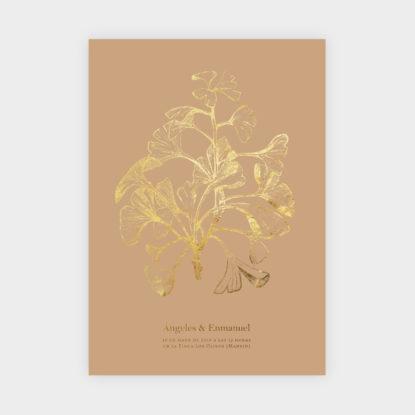 Invitación de boda de papel con foil dorado modelo Biloba