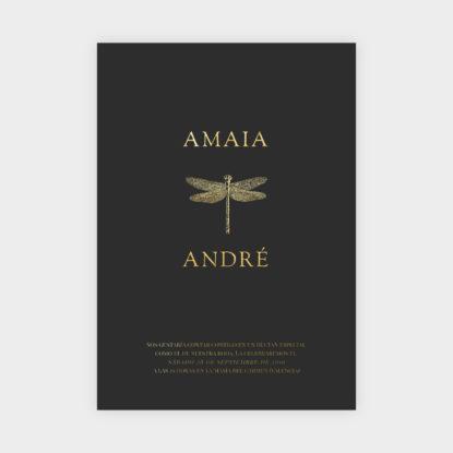 invitacion de boda de papel con foil dorado libelula