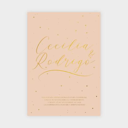 invitacion de boda de papel con foil dorado puntitos