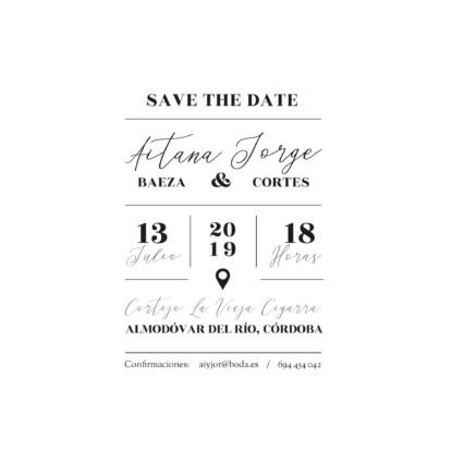 Invitación de boda transparente A6 Lineas diseño