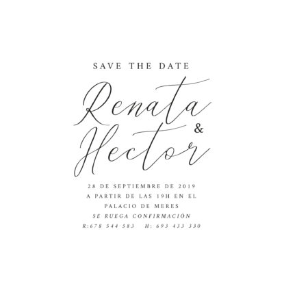 Invitación de boda transparente A6 Save the date diseño