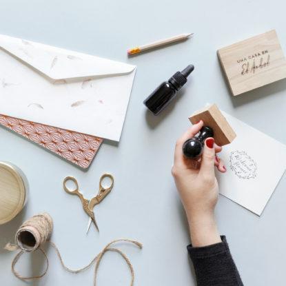 Kit de sello madera para papelería de boda