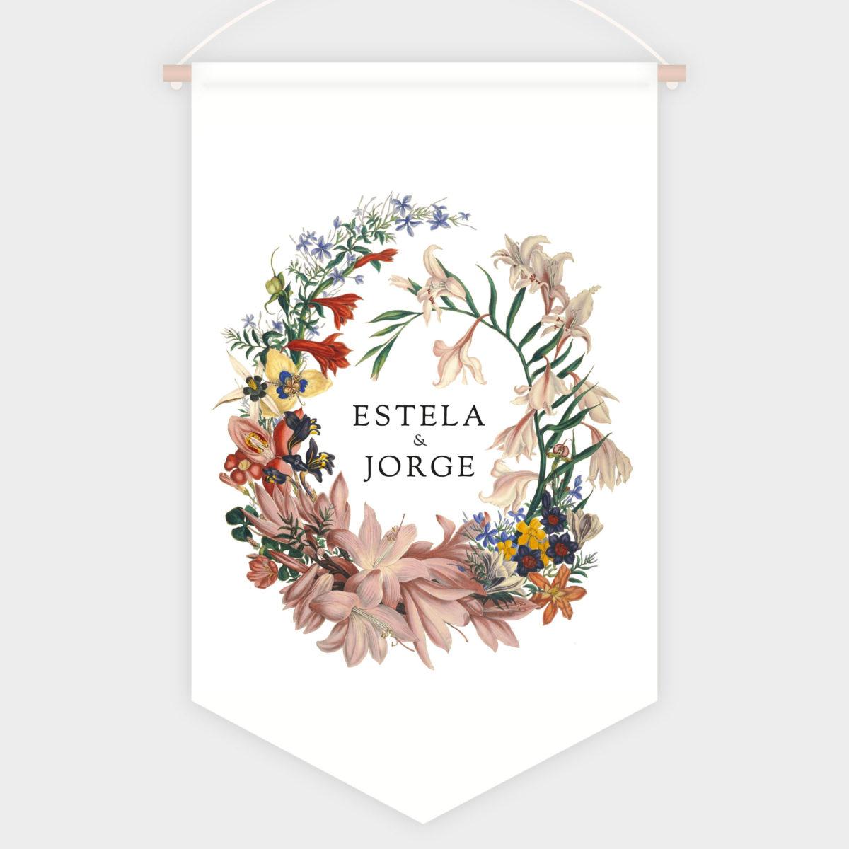 Banderola Bienvenida Corona De Flores