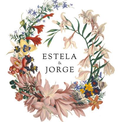 Detalle del diseño de la banderola Bienvenida Corona De Flores