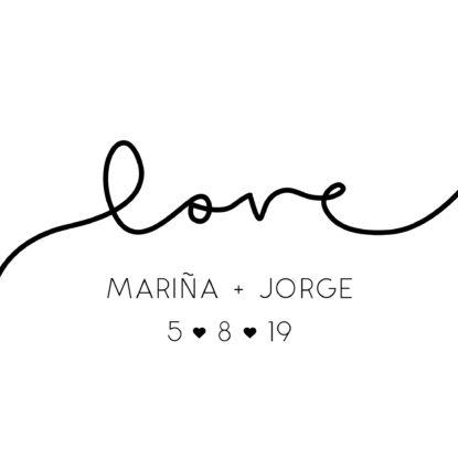 Detalle del diseño de la Banderola Love