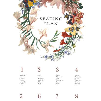 Detalle del diseño de la Banderola Seating Plan Corona de flores
