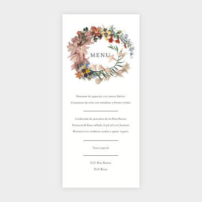 Detalle minuta de papel Corona de Flores
