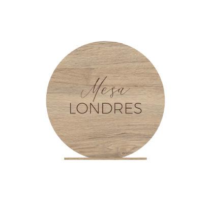 Detalle mesero de madera círculo