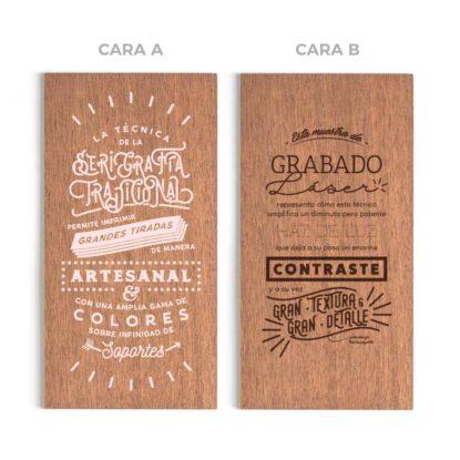 Invitación de madera de caoba para boda muestra con grabado y serigrafía