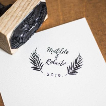 Sello de boda de madera original nombres pareja modelo Osmunda Regalis