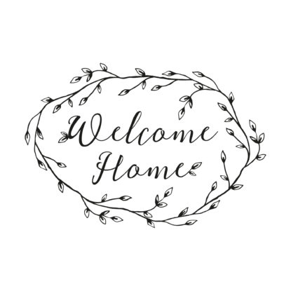 Sello de madera de boda diseño Welcome Home