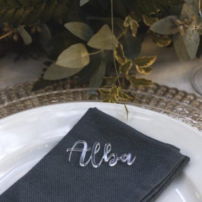 Sitting transparentes de metacrilato nombres para invitados de boda detalle