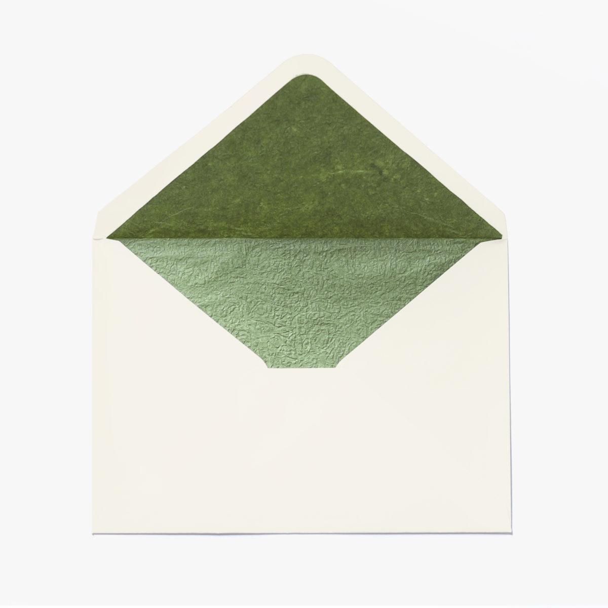 Sobre A5 Marfil Con Forro Interior Verde Texturado