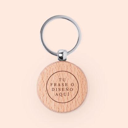 Llavero de madera circular con tu propio diseño grabado