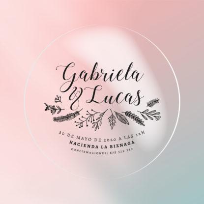 Invitación de de boda transparente redonda Botánica tinta negra