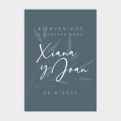 Cartel de boda de panel ligero con seating plan Olivia azul prusia