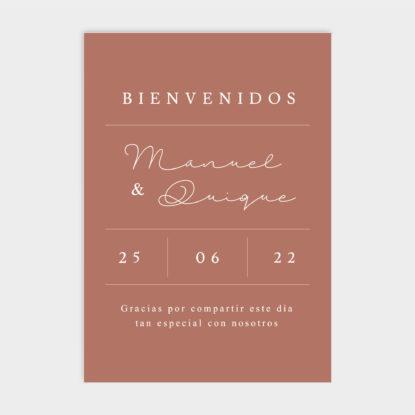 Cartel de boda de panel ligero con bienvenida Olga teja