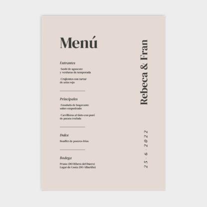 Cartel de boda de panel ligero con menú beige Mia