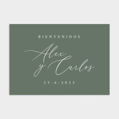 Cartel de boda de panel ligero con bienvenida de boda verde musgo
