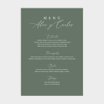 Cartel de boda de panel ligero con menú de boda verde musgo