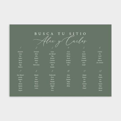 Cartel de boda de panel ligero para boda verde